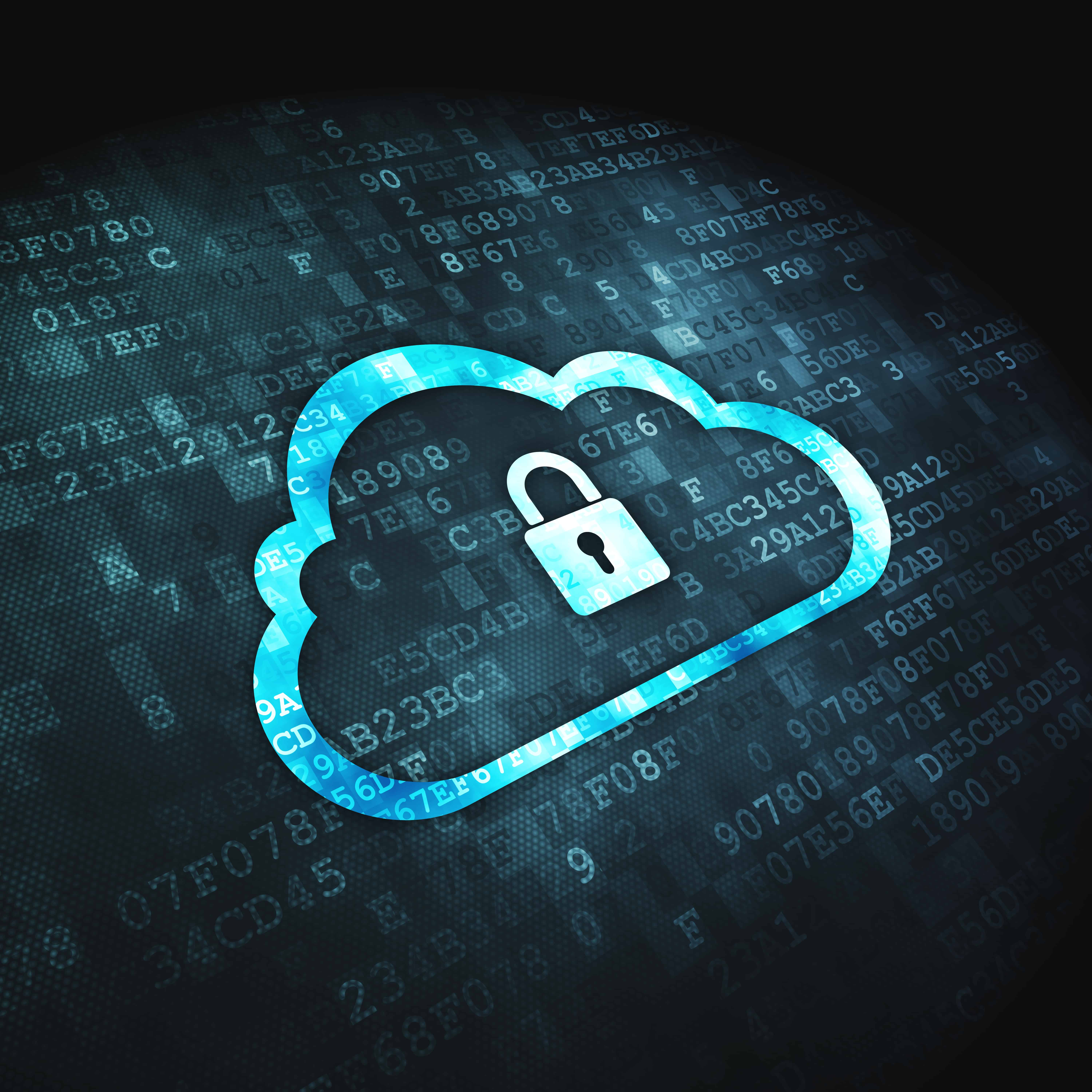 cloud solutions security padlock icon on digital background