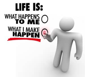 A man decides that life is what he makes happen, choosing to take charge and initiative to be successful and accomplish great things instead of being passive and reactive, like with managed services